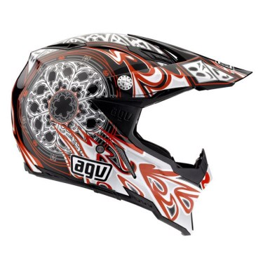AGV Каска за мотокрос AX8 5 Gothic Flame (Black / Silver / Red)